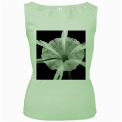 Exotic Black And White Flower 2 Women s Green Tank Tops by timelessartoncanvas