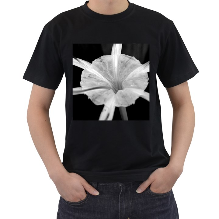 Exotic Black and White Flower 2 Men s T-Shirt (Black) (Two Sided)