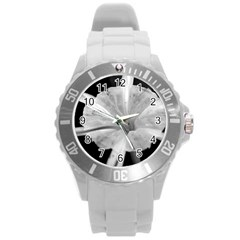 Exotic Black And White Flower 2 Round Plastic Sport Watch (l) by timelessartoncanvas