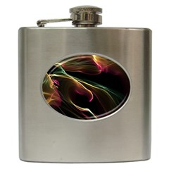 Glowing, Colorful  Abstract Lines Hip Flask (6 Oz)