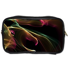 Glowing, Colorful  Abstract Lines Toiletries Bags 2 Side by FantasyWorld7