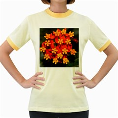 Orange And Red Weed Women s Fitted Ringer T-shirts by timelessartoncanvas