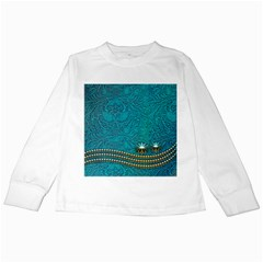 Wonderful Decorative Design With Floral Elements Kids Long Sleeve T-shirts by FantasyWorld7