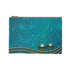 Wonderful Decorative Design With Floral Elements Cosmetic Bag (large)  by FantasyWorld7