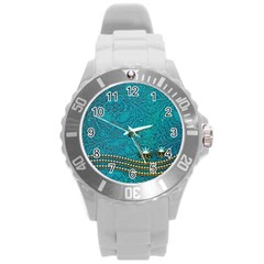 Wonderful Decorative Design With Floral Elements Round Plastic Sport Watch (l) by FantasyWorld7