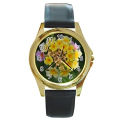 Colorful Flowers Round Gold Metal Watches by timelessartoncanvas