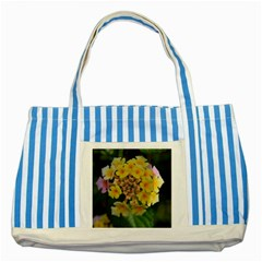 Colorful Flowers Striped Blue Tote Bag  by timelessartoncanvas