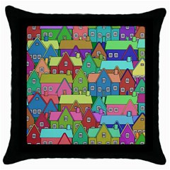 House 001 Throw Pillow Cases (Black)