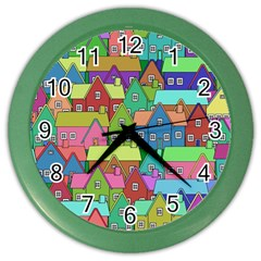 House 001 Color Wall Clocks