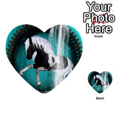 Beautiful Horse With Water Splash  Multi Purpose Cards (heart)  by FantasyWorld7