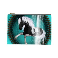 Beautiful Horse With Water Splash  Cosmetic Bag (large)  by FantasyWorld7