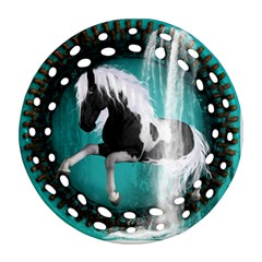 Beautiful Horse With Water Splash  Ornament (round Filigree)  by FantasyWorld7