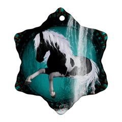 Beautiful Horse With Water Splash  Snowflake Ornament (2 Side) by FantasyWorld7
