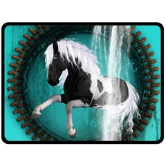 Beautiful Horse With Water Splash  Double Sided Fleece Blanket (large)  by FantasyWorld7
