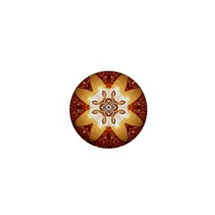 Elegant, Decorative Kaleidoskop In Gold And Red 1  Mini Magnets by FantasyWorld7