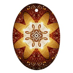 Elegant, Decorative Kaleidoskop In Gold And Red Ornament (oval)  by FantasyWorld7