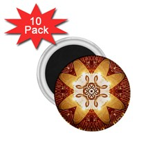 Elegant, Decorative Kaleidoskop In Gold And Red 1 75  Magnets (10 Pack)  by FantasyWorld7