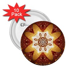 Elegant, Decorative Kaleidoskop In Gold And Red 2 25  Buttons (10 Pack)  by FantasyWorld7