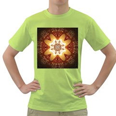 Elegant, Decorative Kaleidoskop In Gold And Red Green T Shirt by FantasyWorld7