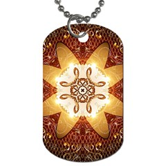 Elegant, Decorative Kaleidoskop In Gold And Red Dog Tag (one Side) by FantasyWorld7