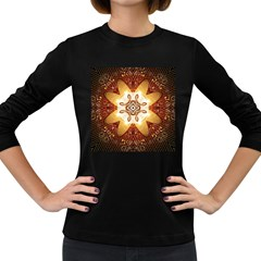Elegant, Decorative Kaleidoskop In Gold And Red Women s Long Sleeve Dark T Shirts by FantasyWorld7