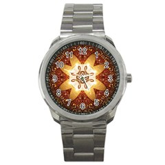 Elegant, Decorative Kaleidoskop In Gold And Red Sport Metal Watches by FantasyWorld7