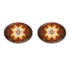 Elegant, Decorative Kaleidoskop In Gold And Red Cufflinks (oval) by FantasyWorld7