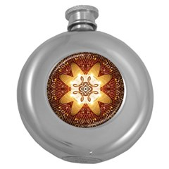 Elegant, Decorative Kaleidoskop In Gold And Red Round Hip Flask (5 Oz) by FantasyWorld7