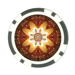 Elegant, Decorative Kaleidoskop In Gold And Red Poker Chip Card Guards by FantasyWorld7