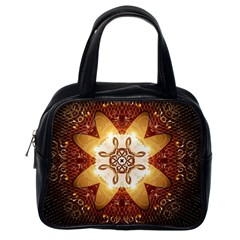 Elegant, Decorative Kaleidoskop In Gold And Red Classic Handbags (one Side) by FantasyWorld7