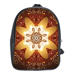 Elegant, Decorative Kaleidoskop In Gold And Red School Bags(large)  by FantasyWorld7