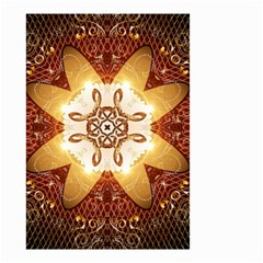 Elegant, Decorative Kaleidoskop In Gold And Red Small Garden Flag (two Sides) by FantasyWorld7