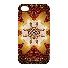 Elegant, Decorative Kaleidoskop In Gold And Red Apple Iphone 4/4s Premium Hardshell Case by FantasyWorld7
