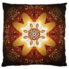 Elegant, Decorative Kaleidoskop In Gold And Red Large Flano Cushion Cases (two Sides)  by FantasyWorld7