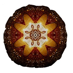 Elegant, Decorative Kaleidoskop In Gold And Red Large 18  Premium Flano Round Cushions by FantasyWorld7