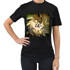 Clef With  And Floral Elements Women s T-shirt (black) (two Sided) by FantasyWorld7