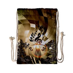 Clef With  And Floral Elements Drawstring Bag (small)