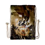 Clef With  And Floral Elements Drawstring Bag (Small) Back
