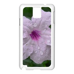 Pink Purple Flowers Samsung Galaxy Note 3 N9005 Case (white) by timelessartoncanvas
