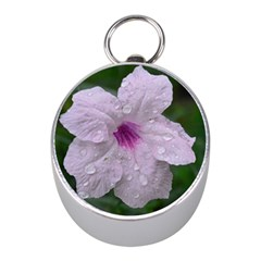 Pink Purple Flowers Mini Silver Compasses