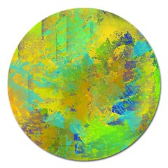 Abstract In Blue, Green, Copper, And Gold Magnet 5  (round) by digitaldivadesigns