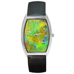 Abstract In Blue, Green, Copper, And Gold Barrel Metal Watches