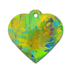 Abstract In Blue, Green, Copper, And Gold Dog Tag Heart (one Side) by digitaldivadesigns