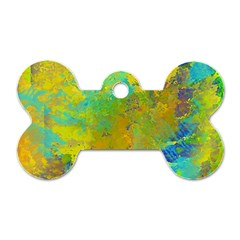 Abstract In Blue, Green, Copper, And Gold Dog Tag Bone (two Sides) by digitaldivadesigns