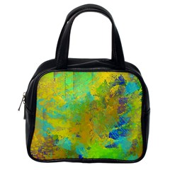 Abstract In Blue, Green, Copper, And Gold Classic Handbags (one Side) by digitaldivadesigns