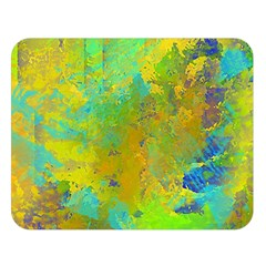 Abstract In Blue, Green, Copper, And Gold Double Sided Flano Blanket (large)  by digitaldivadesigns