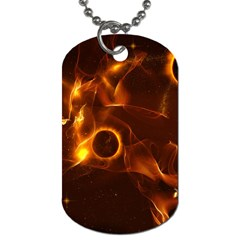 Fire And Flames In The Universe Dog Tag (one Side) by FantasyWorld7
