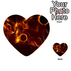 Fire And Flames In The Universe Multi Purpose Cards (heart)  by FantasyWorld7