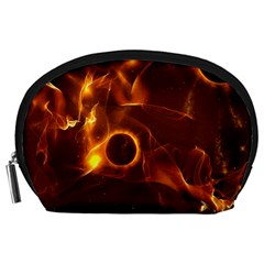 Fire And Flames In The Universe Accessory Pouches (large)  by FantasyWorld7