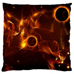 Fire And Flames In The Universe Large Flano Cushion Cases (two Sides)  by FantasyWorld7